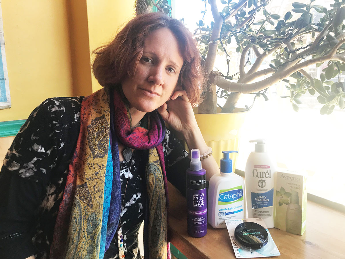 Rae Carter with cancer-causing products